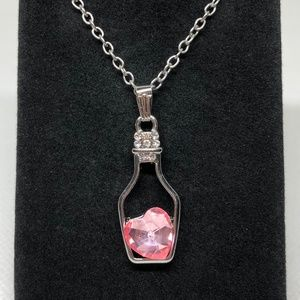 Pink Crystal Heart In A Bottle Pendant Necklace